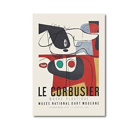 Póster de la exposición Le Corbusier 1954 estilo cubismo pintura de arte moderno de mediados de siglo, pintura familiar en lienzo sin marco B 30x40cm