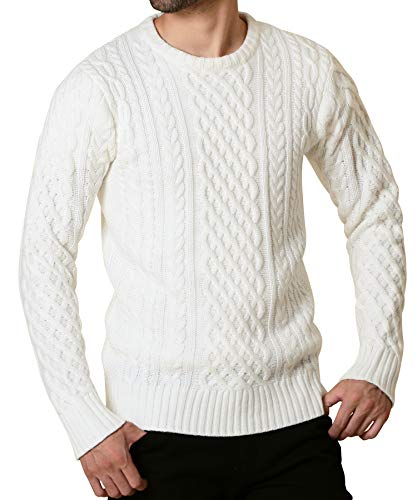 JIGGYS SHOP セーター メンズ ニット クルーネック 暖かい 防寒 カジュアル 長袖 L Aホワイト(クルーネック)