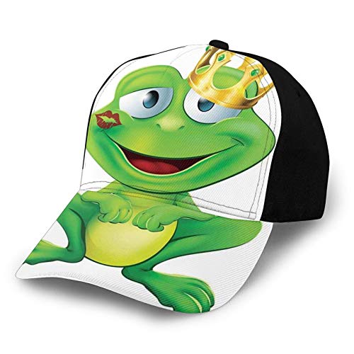 Printed Adjustable Baseball Cap,Frog Prince Cartoon Character with Golden Yellow Crown Lipstick Mark On Lips Love,Hat for Men Women Teens