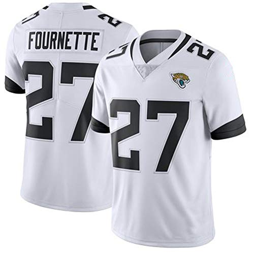 Jaguars 27# Fournette American Football Trikot Rugby Trikots Training Top Professionelle technische Kleidung Student T-Shirt Sport Kurzarm Bequem Weich Gr. XL, weiß