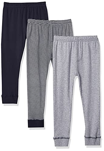Luvable Friends Unisex Baby Cotton Pants, Stripe Navy Gray, 3 Toddler