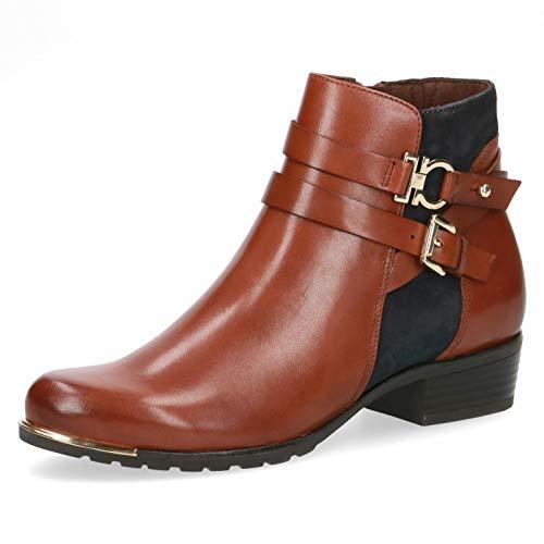 CAPRICE Damen Stiefel, Frauen Ankle Boots,lose Einlage, Stiefel halbstiefel Bootie knöchelhoch reißverschluss weiblich,Cognac/Ocean,37.5 EU / 4.5 UK