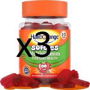 THREE PACKS of Seven Seas Haliborange Kids Multivitamin Fruit Softies 30s