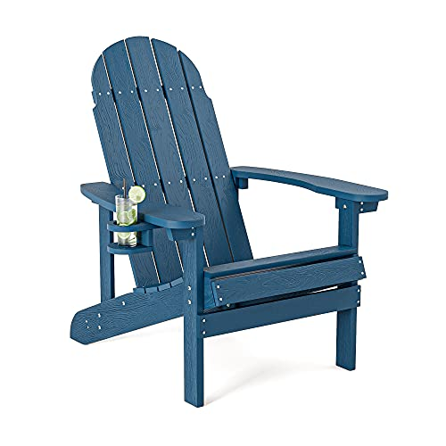SERWALL Adirondack Chair with Cup Holder, Weather Resistant...