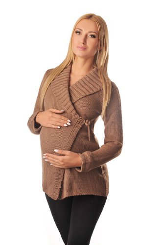 Purpless Damen Umstands-Mode Warm Wickel Strickjacke Schwangerschaft Pflegekleidung 9002 (36/38, Cappuccino)