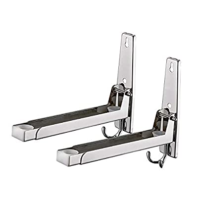 Homwel 304 Stainless Steel Microwave Mount Bracket Oven Wall Mount Bracket Load 135lb Telescopic Microwave oven Wall Frame Removable Hook