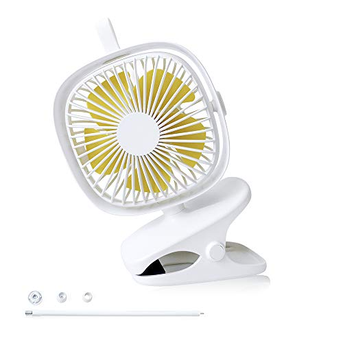 Simjar DIY 2 in 1 Portable Clip on Stroller Fan with Optional Flexible Neck, 4 Speeds with Ocean Wind, USB Rechargeable Battery Operated, Quiet Flexible Bendable Desk Fan for Outdoor & Indoor