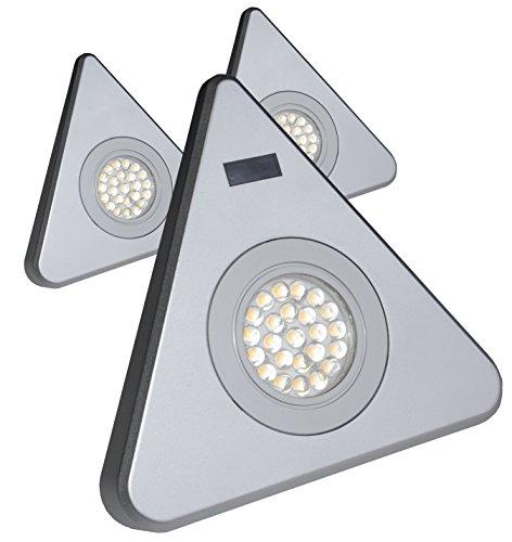Rolux LED 3er Set TRINDA Dreieckleuchten 3x 1,7W mit Sensor Zentralschalter an einer Leuchte silber 3000K warm-weiß