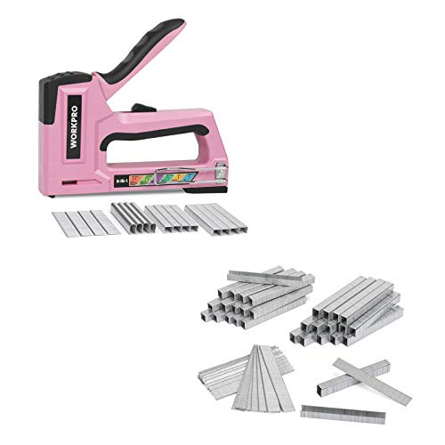 WORKPRO Pink Staple Gun, 6-in-1 Manual Brad Nailer with 4000-Pieces Staples and 7500-Count Heavy Duty T50 Staples and Brad Nails Combo Kit