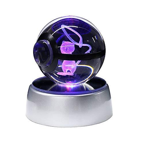 Character Design 3D LED Crystal Ball Rotating Base Night Light Lamp (Mew 50MM)