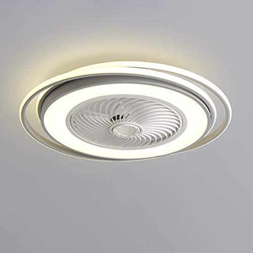 Dagea Ø62CM Moderno Ventilador de Techo con Iluminación LED Ligero Regulable con Control Remoto Invisible Silencio Redondo Ventilador Luces Sala Cuarto Habitación de niños Lámpara 64W,Gris