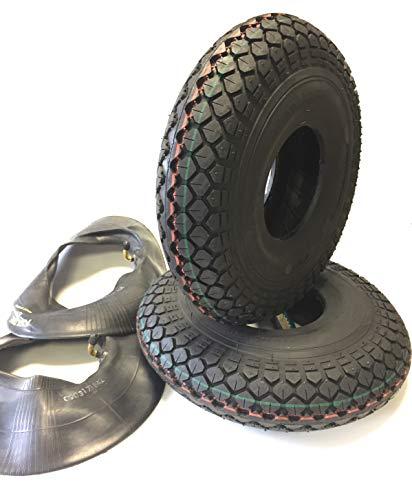 Lot de 2 pneus de fauteuil roulant 4.00-5 - Noir - 2 chambres à air - Valve d'angle - Profil bloc solide - 4 PR - Robuste - Pneus pour fauteuil roulant - Pour scooter électrique