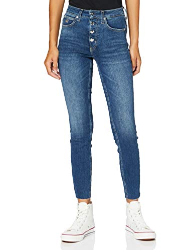 Calvin Klein Jeans Damen Ckj 010 High Rise Skinny Ankle Straight Jeans, Blau (DA084 MID Blue Shank Cut Hem 1A4), NI26
