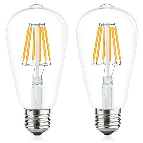 LED-Leuchtmittel E27, 12 V-24 V, AC/DC, 6 W, kaltweiß, 6000 K, ES Vintage ST64, Filament, 12 Volt, 6 W, entspricht 60 W Halogen, für Camping/Boot/Solar-Fotoapparat (2 Stück) .