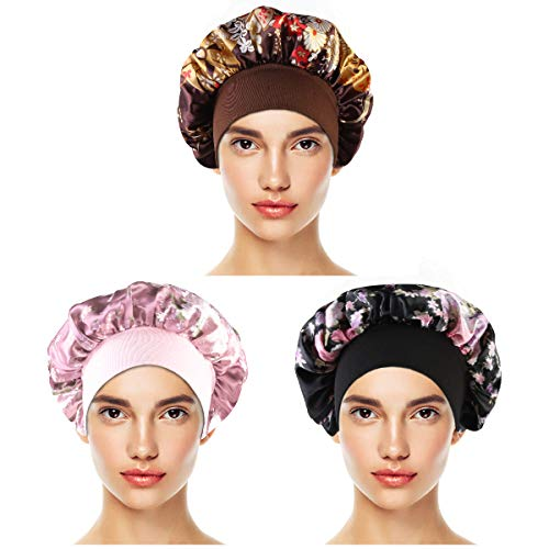 Homeriy Satin Sleep Cap 3 Pack Women Satin Sleep Cap Dormir Cabeza Cubierta Elástica Banda Ancha Beanie Hat