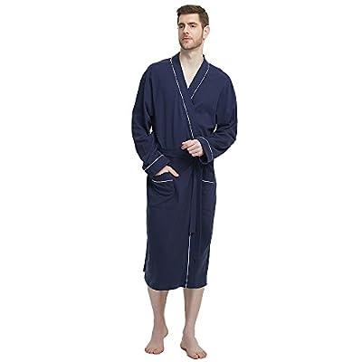 M&M Mymoon Men's Cotton Robe Soft Kimono Spa Knit Bathrobe Lightweight Long