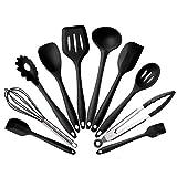 CHUCKSSS Silikon-Küchenutensilien-Set,10-teilig,Hitzebeständig,Antihaft-Silikon-Kochutensilien mit solidem Kern-Backen,Grill-Werkzeug-Set Mit Spatel,Zange,Pasta-Gabel,Pfannenwender etc (Schwarz)