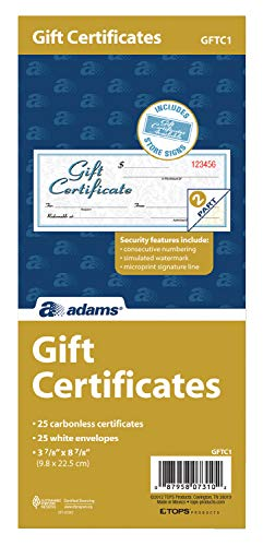 Adams Gift Certificate Book, Carbonless, Single Paper, 3.4 x 8 Inches, White, 2-Part, 25 Numbered Certificates Plus Store Sign (GFTC1)