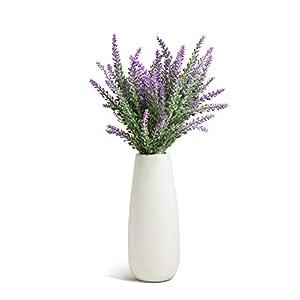 Silk Flower Arrangements Opps Artificial Lavender Flowers Bouquet with White Ceramic Vase for Home, Party & Wedding Décor – Purple