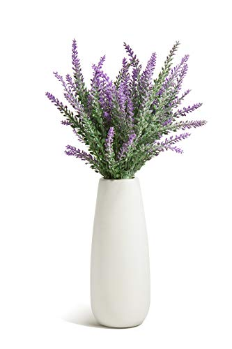 Opps Artificial Lavender Flowers Bouquet with White Ceramic Vase for Home, Party & Wedding Décor – Purple