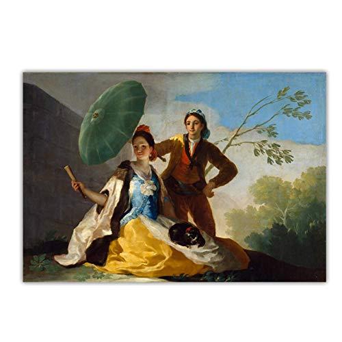 Shmjql Francisco Goya 《Der Sonnenschirm, 1777》 Leinwand Malerei Kunstwerk Poster Bild Wand Hintergrund Dekor Home Decoration-24x40inch No Frame