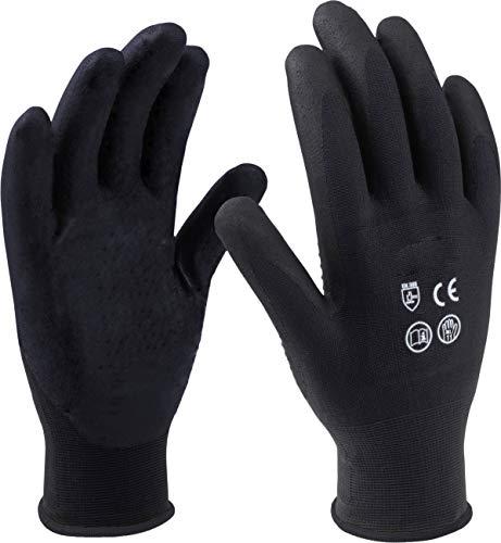 Meister Handschuh Gr. 11 / XXL - Schwarz - 12 Paar im praktischen Set - Beschichtete Innenhandflächen - Gute Griffigkeit & Tastempfinden / Schutzhandschuhe / Montagehandschuhe / 9004220