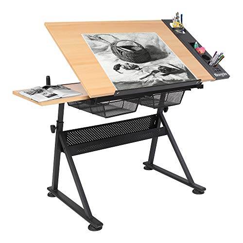 Bonnlo Professional Drafting Desk, Wooden Drawing Table Height Adjustable Tiltable Tabletop w/Storage Drawer for Reading, Writing Art Craft Work Station