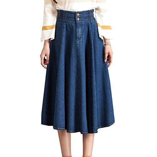 Mujeres Summer Denim Skirt Lady Plus Cowboy Size Único Flared Faldas De Cintura Elástica Swing Plisado Falda Larga (Color : Azul, Size : L)