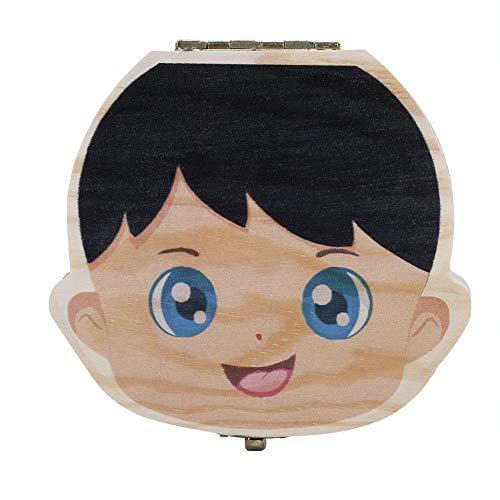 Boîte à dents pour bébé, version en couleur lait, organisateur pour dents de lait pour bébé, boîte à rangement en bois pour boîtes à dents (couleur garçon espagnol) (Edition : Color Spanish Boy)