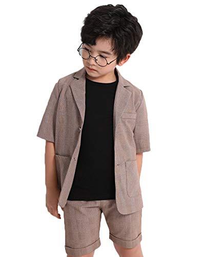 GELing Conjunto de Fiesta Boda para Niño Chicos Camisa + Pantalones + Blazer Trajes de Ceremonia,Caqui Negro-3 Piezas,140