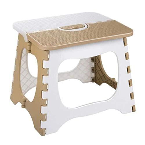 ASDFG Kunststoff Klapphocker Verdickungsstuhl Tragbare Wohnmöbel BequemerEsszimmerhocker-Kaffee + Weiß, Dunkel Khaki