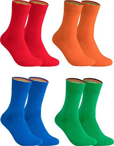 gigando – Socken Herren Baumwolle Uni Farben 4er oder 8er Pack in Premiumqualität – bunt farbige Strümpfe für Anzug, Business, Freizeit – ohne Naht - in rot, grün, orange, blau Größe 43-46