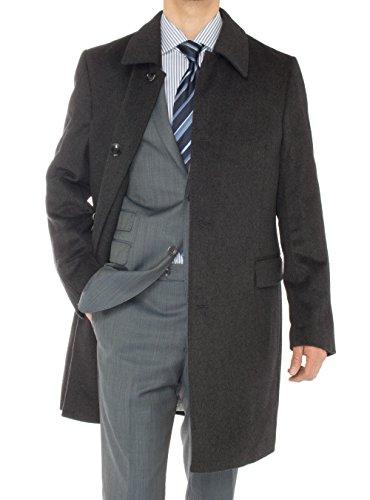 Luciano Natazzi Italian Men's Cashmere Topcoat Knee Length Trench Coat Overcoat (46 US - 56 EU, Charcoal Gray)