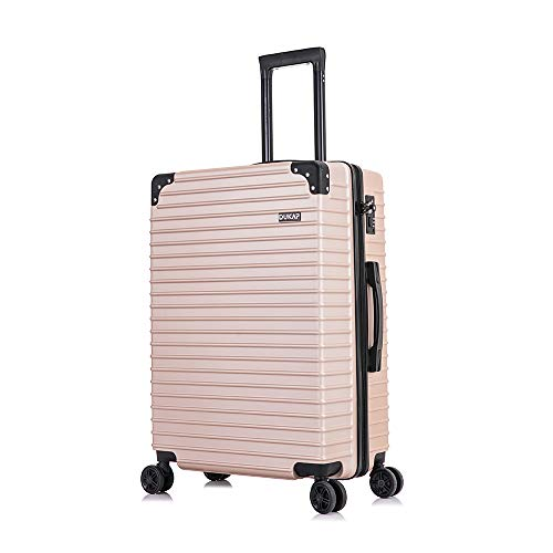 DUKAP Tour 24 Inch Medium Lightweight Spinner Luggage With Ergonomic GEL Handle, Travel Suitcase with TSA Combination Lock, Champagne