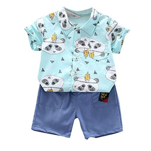 Baby Jungen Kleidung Set Blusen Freizeitshorts Bekleidungsset Kleinkind Kinder Cartoon Print Gentleman Shirt Tops Shorts Zweiteilig Outfits, Grün, 18-24 Monate
