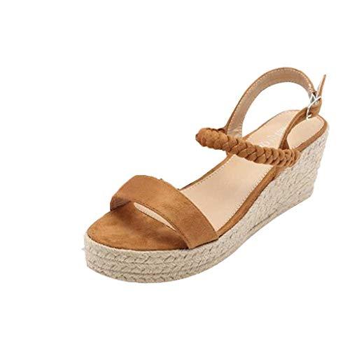 Sandalias Mujer Verano 2019 cuñas cáñamo Gran tamaño para Mujeres Sandalias con Puntera Abierta Correa de Tobillo Fondo Grueso Zapato Romanas Casual Negro 35-43 riou