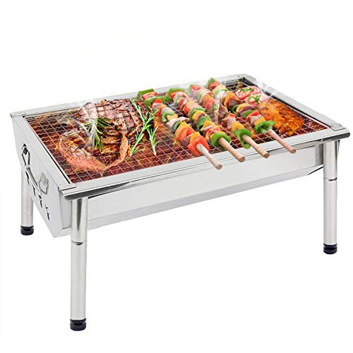 Charcoal Grill BBQ Barbecue Portable BBQ Grill Stainless Steel Kabab Grill Folding Camping Grill BBQ Hibachi Grill for Shish Kabob Grill Cooking Small Grill Portable Charcoal Tabletop Grill