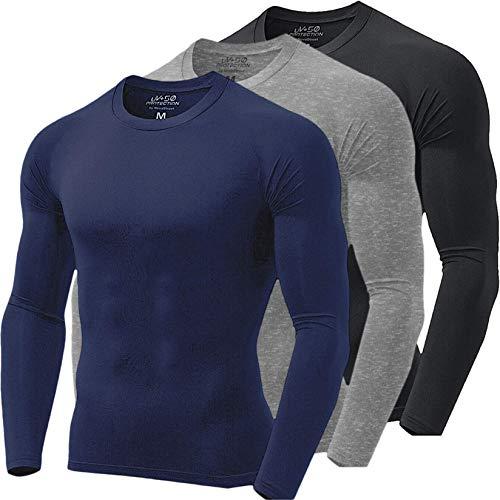 Kit 3 Camisas Térmicas Masculinas Proteção UV NovaStreet, Preta, Cinza e Azul Marinho; Tamanho:M