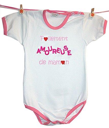 Zigozago - Body Bèbè à Manches Courtes pour bébé avec Broderie FOLLEMENT Amoureuse DE Maman Taille: 9 Mois - Couleur: Rose