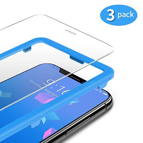 TAMOWA (3 Stück für Panzerglas Kompatibel für iPhone 11 Pro/iPhone XS/iPhone X (5,8 Zoll), Panzerglasfolie 9H Härte für Panzerglas Schutzfolie mit Positionierhilfe, Anti-Öl, Anti-Kratzen