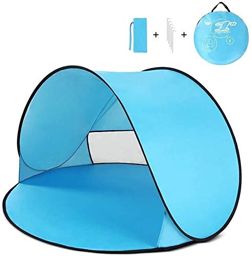 Lhak Portable outdoor tent Instant pop-up tent camping hiking Baby Beach huts UV sun refuge for fishing trips (Color : Blue)