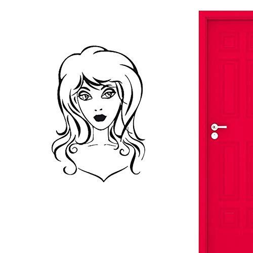 Blrpbc Adhesivos Pared Pegatinas de Pared Hermosa Chica Sexy Peinado Peluquero para barbería salón de Belleza decoración de SPA Mural de Arte de Pared 76x112cm