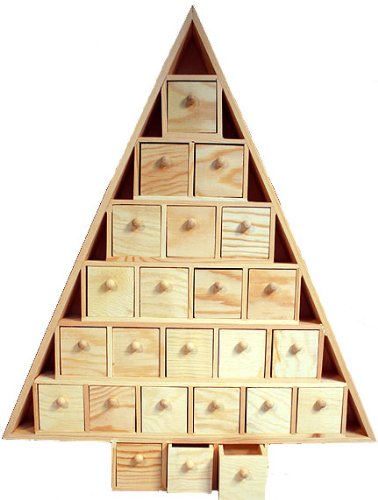 Wood Advent Tree Featuring 24 Removable Box Drawers -Ready to Paint Unfinished