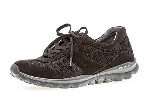 Gabor Damen Low-Top Sneaker 36.960, Frauen Sneaker,Halbschuh,Sportschuh,Schnürschuh,atmungsaktiv,schwarz,40 EU / 6.5 UK