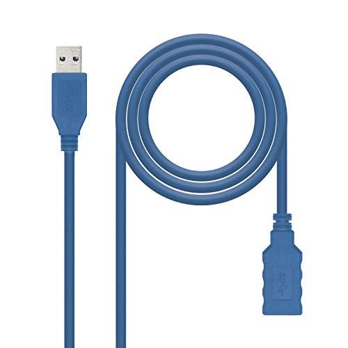 NanoCable 10.01.0901-BL - Cable USB 3.0 prolongador, tipo A/M-A/H, macho-hembra, azul, 1mts