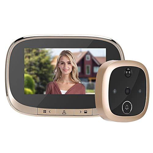 Visor Digital de Puerta, 4.3pulgadas HD 720P Visor de Mirilla Inteligente con Pantalla TFT LCD + detección de Movimiento PIR + visión Nocturna IR para Seguridad en el hogar, Sensor CMOS(Oro)
