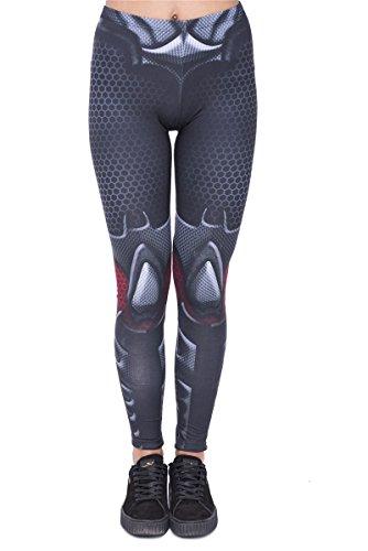 Hanessa Frauen Leggins Bedruckte Leggings Hose Frühling Sommer Kleidung Bad Woman Metallic look L198