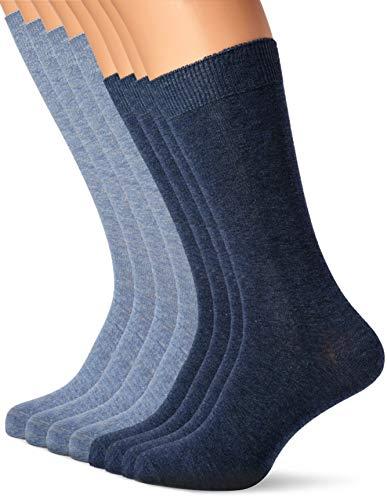 Camano, unisex, set van 9 effen katoenen sokken met versterkte hiel en kant, voor dames en heren