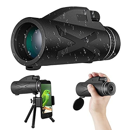 Starscope monocular, telescopio monocular, lente impermeable FMC BAK4, con soporte para teléfono inteligente y trípode monocular impermeable, observación de aves, camping