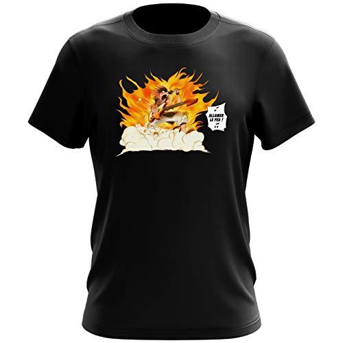 Okiwoki T-Shirt Homme Noir Parodie Fairy Tail - Natsu - Allumer Le Feu !! (T-Shirt de qualité Premium de Taille XXL - imprimé en France)